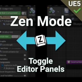 Quickly toggle My Blueprint, Details, and other panels with a keyboard shortcut. Reclaim your screen space when coding, but always be a keystroke away to the extra panels. UE5 supported!