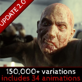 Hundreds of thousands of unique zombie variations with multiple modular zombie outfits and dismembered zombie limbs