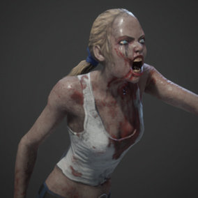 Realistic Low Poly Zombie Girl
