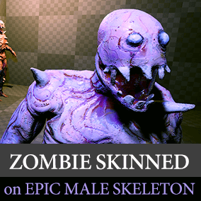 A zombie character directly compatible with the Epic Male skeleton.