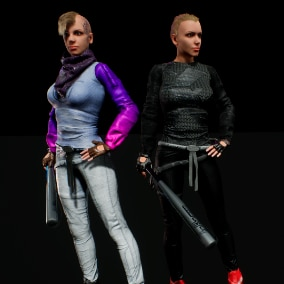lowpoly female characters asset
