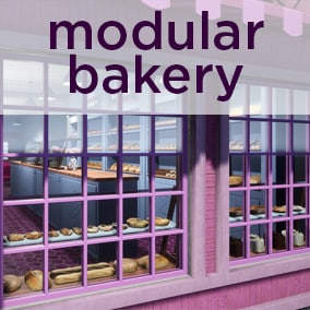 Modular Bakery set is ready for your next project.  This main street bakery is complete with architectural walls, counters, pastry displays, furniture and photo realistic bakery props.  This set includes over 30 pasties, donuts and breads.