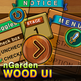 Wood UI for casual game