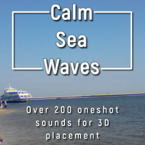 Randomized, one shot calm ocean / sea waves sounds brushing shore / beach. Dedicated for placement in 3D space.