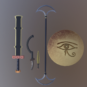A pack of antique weapons