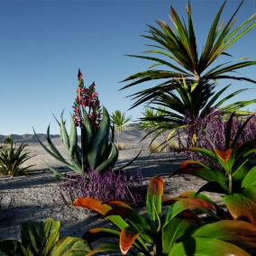 vegetation with low poly count