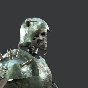 Low-poly model of the character skeleton warrior 3