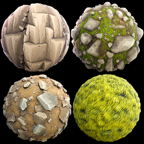 Stylized Terrain Pack of 50 Materials